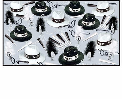 black & white nye party kit with a 1920s theme includes fedora hats, feathered tiaras, horns and beads
