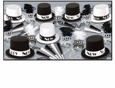 black and white top hat new year's eve party kit with tiaras, horns, and beads