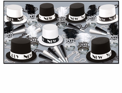 black and white top hat new years eve party kit with tiaras, horns, and beads