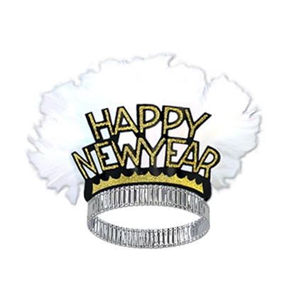black and gold new years eve tiara with a big white feather