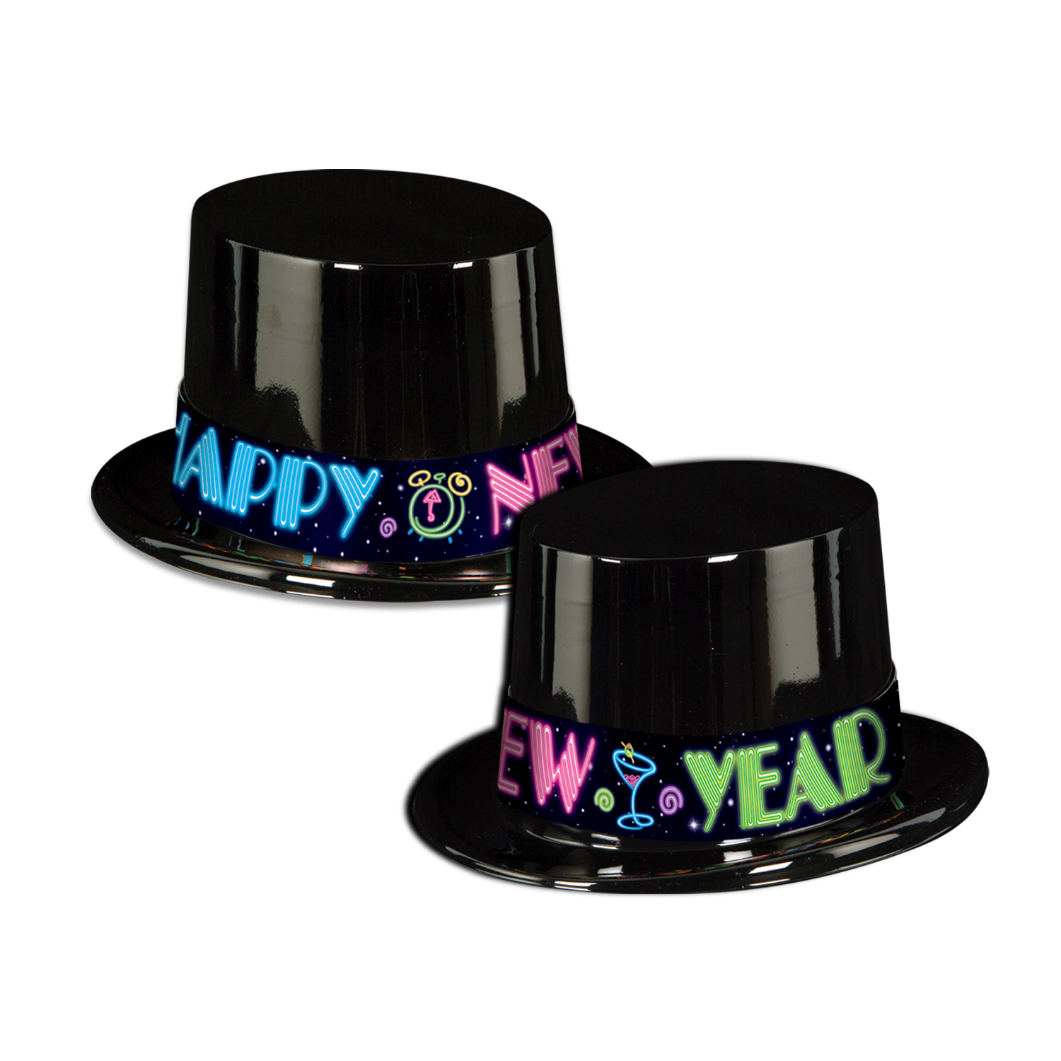 black top hat with neon happy new year bands