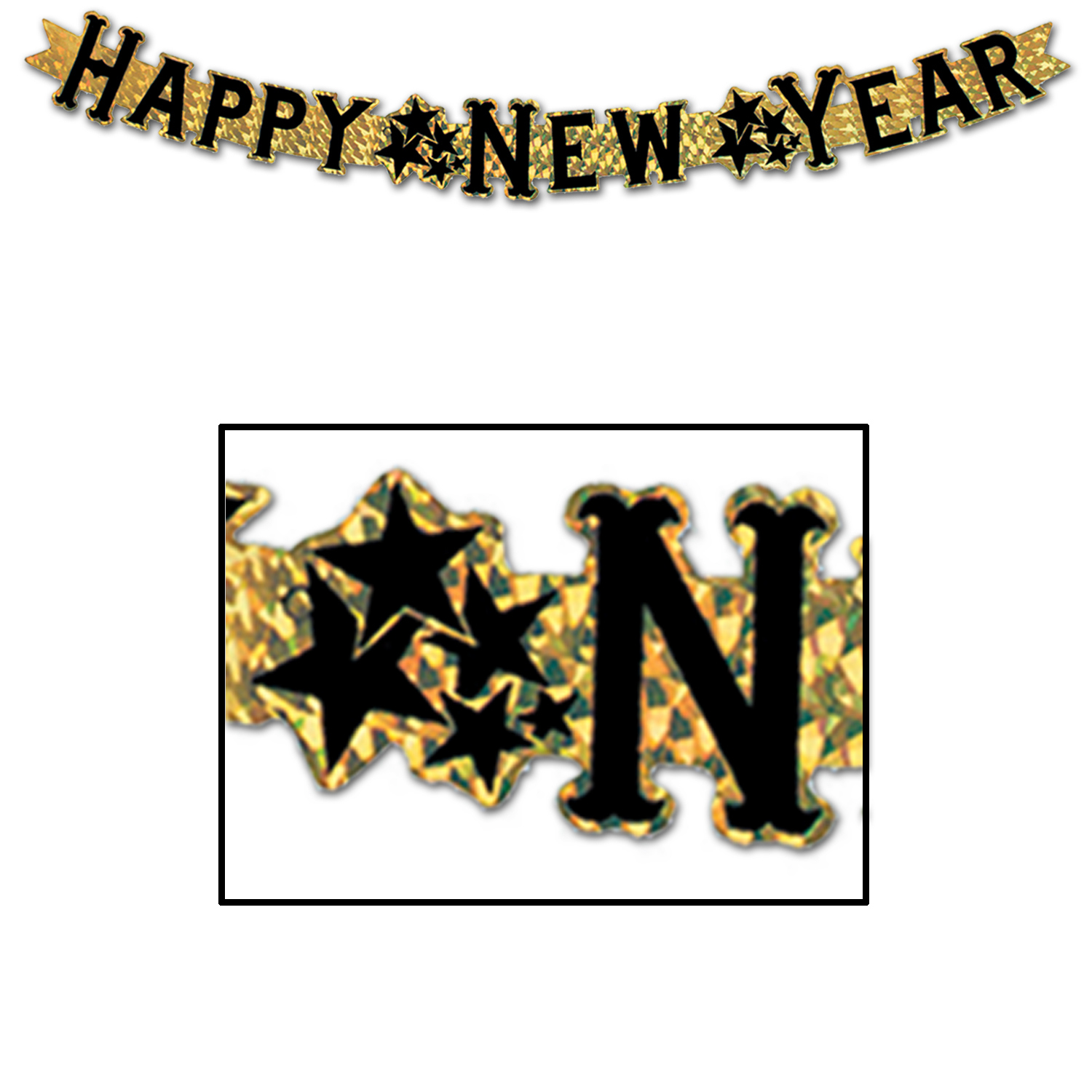 Prismatic gold streamer with black happy new year lettering and star clumps in between wording.