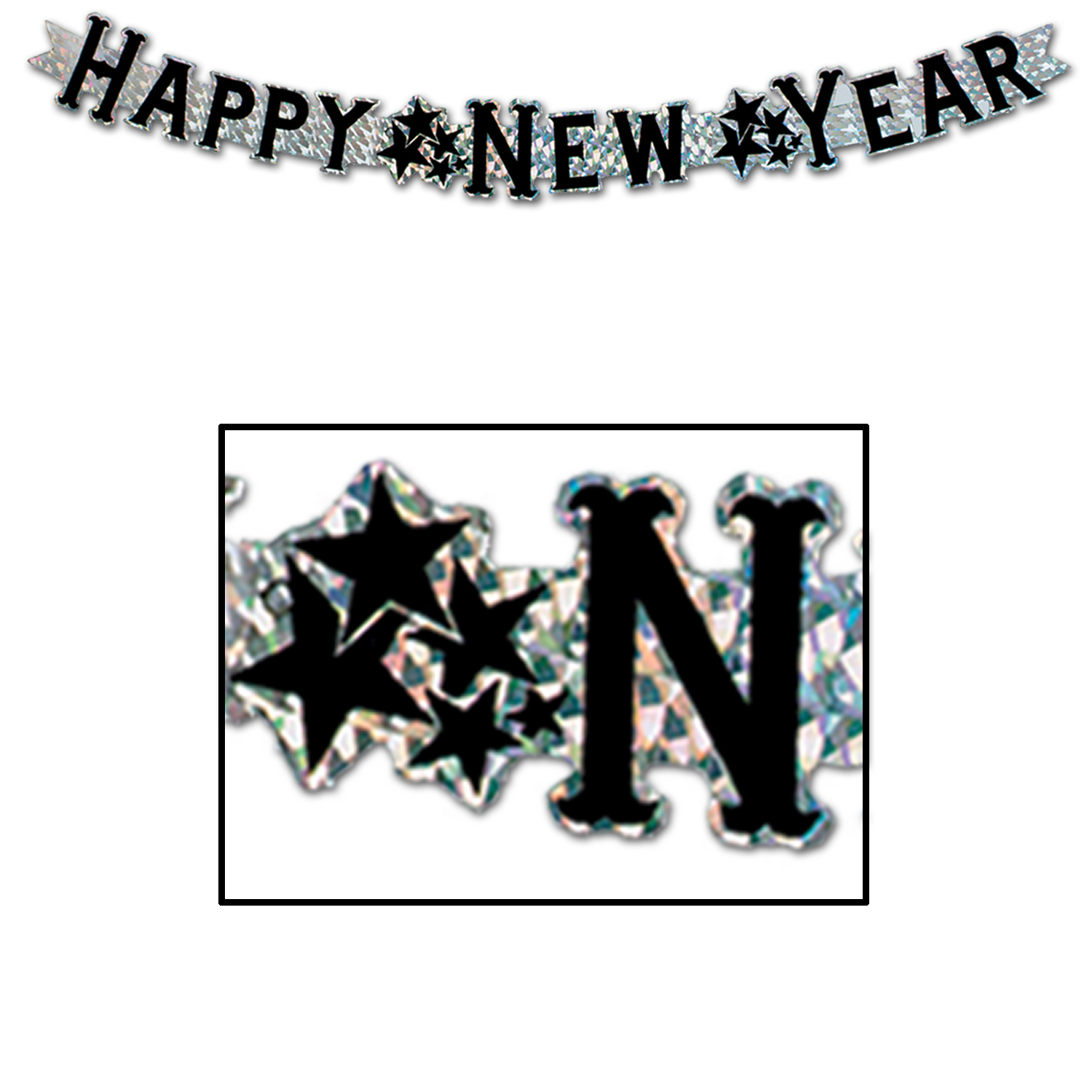Silver prismatic streamer with black happy new year lettering and star clumps separating wording.