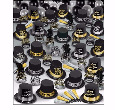 big party pack for new years eve that includes top hats, tiaras, balloons, and horns