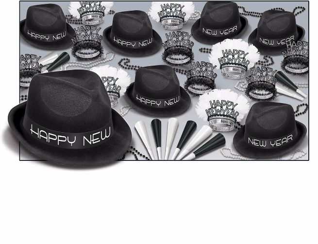black and white new years eve party kit