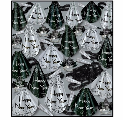 black & silver nye party hat kit with additional wearable accessories