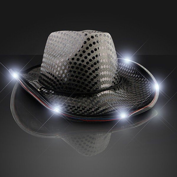 black light up cowboy hat with sequins