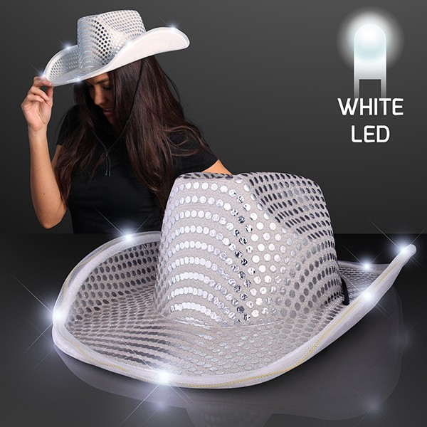 white sequined cowboy hat that lights up
