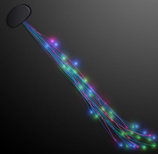 light up hair clip with strands of assorted colored lights