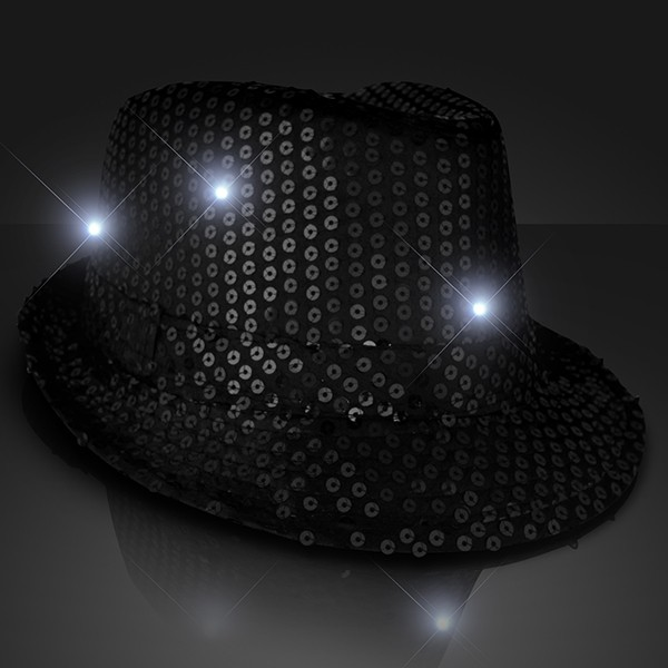 black fedoras with sequins that lights up