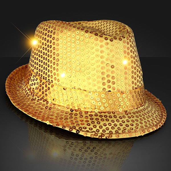 gold light up fedora with sequins