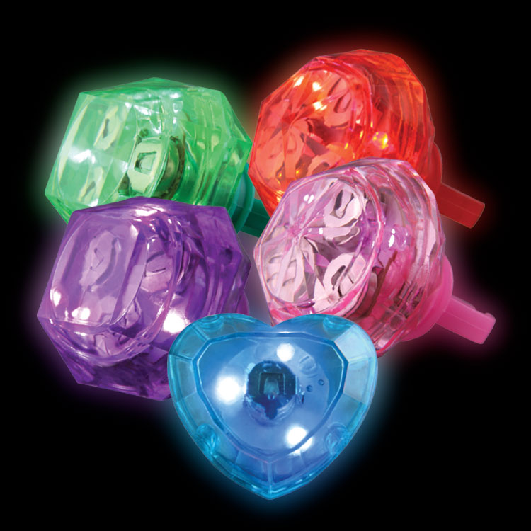 light up rings in hearts and assorted shapes and colors