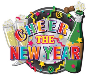Colorful cheer the new year hi-gloss foil new years eve sign with multi-colored lettering and champagne  bottle and glasses.
