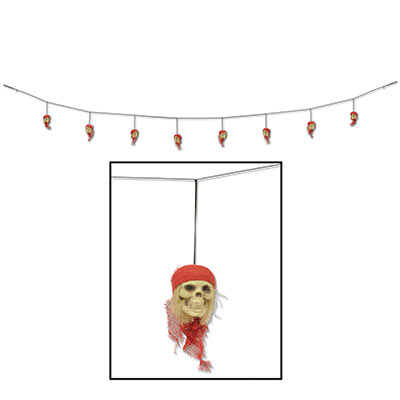 Pirate Skull Garland (Pack of 12) Pirate decor, halloween decorations, pirate skulls, pirate party, haloween party