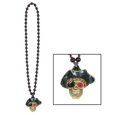 Beads w/Flashing Pirate Skull Medallion (Pack of 12) flashing beads, pirate beads, pirate necklace, scary beads, halloween beads