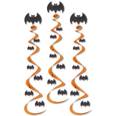 Bat Whirls (Pack of 18) bat, whirls, hanging, decoration, black, orange, Halloween, party, haunted, house, pack