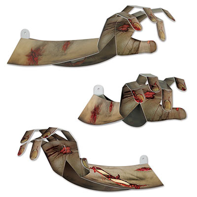 3-D Zombie Hands (Pack of 12) .