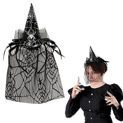 spider hat for Halloween with a spider web veil