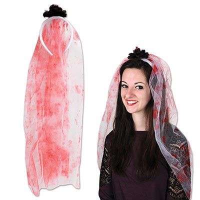 Bloody Veil Headband (Pack of 12) Dead Bride Costume, Halloween Costume Accessories, Wholesale party supplies, Inexpensive party decorations, Bloody Veil, Blood stained white veil