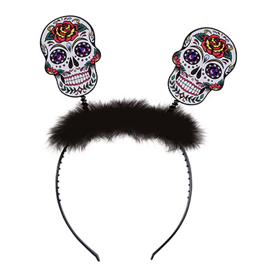 Day Of The Dead Sugar Skull Boppers (Pack of 12) Day Of The Dead Sugar Skull Boppers, day of the dead, halloween, skulls, party favor, boppers, headband, wholesale, inexpensive, bulk
