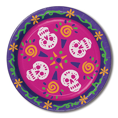 Day Of The Dead Plates (Pack of 96) Day Of The Dead Plates, decoration, skulls, day of the dead, halloween, wholesale, inexpensive, bulk