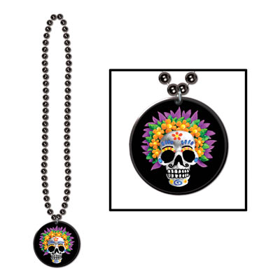 Beads w/Day Of The Dead Medallion (Pack of 12) .