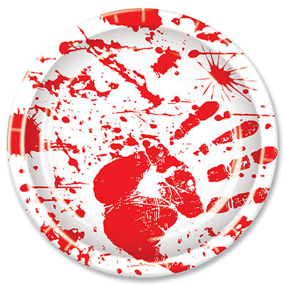 Bloody Handprints Plates (Pack of 96) Paper, plates, bloody, handprints, murder, blood, crime, halloween