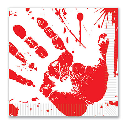Bloody Handprints Luncheon Napkins (Pack of 192) Blood, handprints, lunch, luncheon, napkins, crime scene, halloween, murder