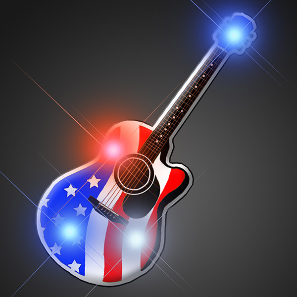 American Guitar Flashing Pin (Pack of 12) American Guitar Flashing Pin, guitar, flashing, light up, pin, american, patriotic, 80s, new years eve, wholesale, inexpensive, bulk, july 4th, memorial day