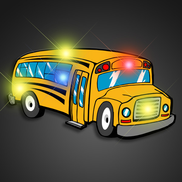 Flashing School Bus Pins (Pack of 12) LED Flashing School Bus Pin, School Bus Pin, Light up pin, Classroom Decorations, Bus Driver Retirement Party