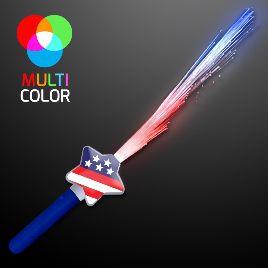 Fiber Optic Stars & Stripes Wands (Pack of 12) LED Fiber Optic Stars & Stripes Wands, Stars & stripes wands, 4th of July, Light up wands