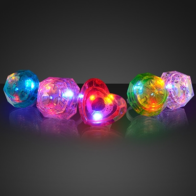 Light Up Huge Gem Ring (Pack of 12) LED Huge Light up Gem Ring, Light up gem ring, light up rings, themed parties, glow in the dark rings
