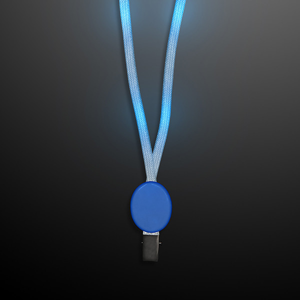 Flashing Blue Lanyard with Badge Clasp (Pack of 12) Flashing Blue Lanyard with Badge Clasp, flashing, light up, blue, lanyard, party favor, wholesale, inexpensive, bulk