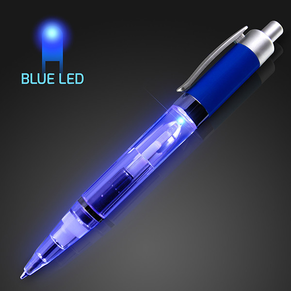 Blue Light up plastic pen. These blue light up pens are great for when the lights are too bright, but documents still need signed.