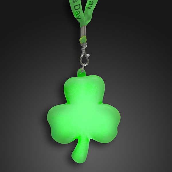 Light Up Shamrock with Light up Cloth Lanyard. These Light Up Shamrock Lanyards are the perfect addition to that St. Patricks day outfit.