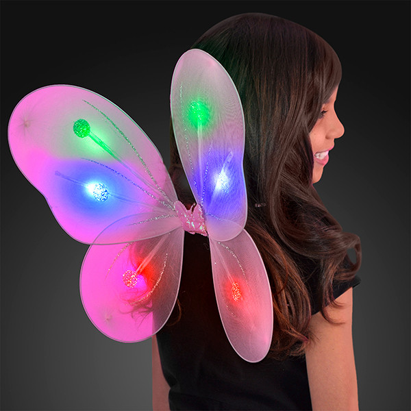 Blinking Pink LED Fairy Wings (Pack of 12)