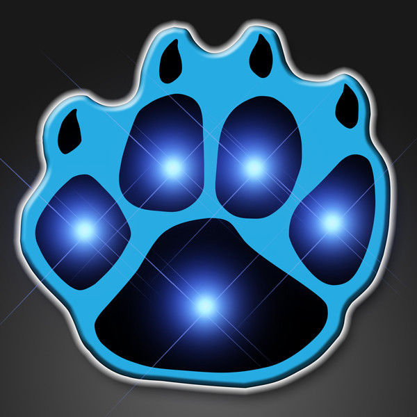 Blue LED Paw Print Flashing Pins. These Blue Paw Print pins are the perfect outfit add on for glow in the dark parties.