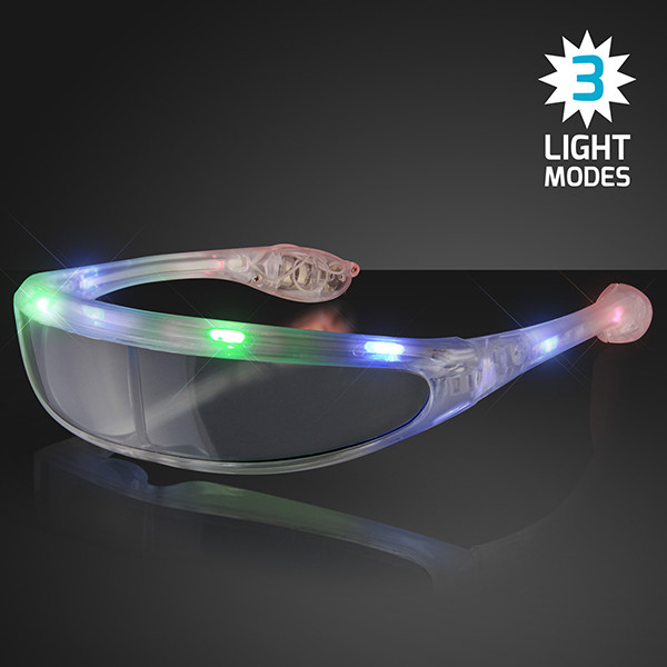 Light Up Futuristic Novelty Sunglasses. These light up futuristic novelty sunglasses are perfect for glow in the dark parties.