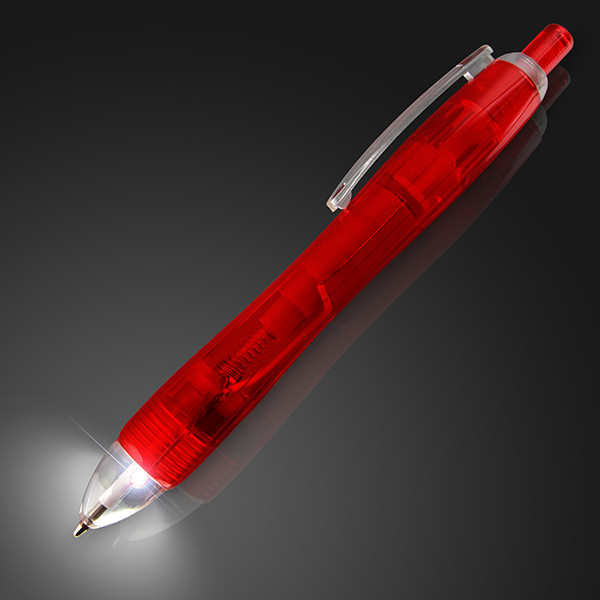 White LED Light Tip Red Pen. This Light Up Tip Red Pen is perfect for when the lights are two much, but the work goes late into the night.