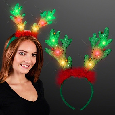 Blinky Soft Reindeer Antlers w/ Jingle Bells. These Blinky Reindeer Antlers are perfect for holiday party outfits.