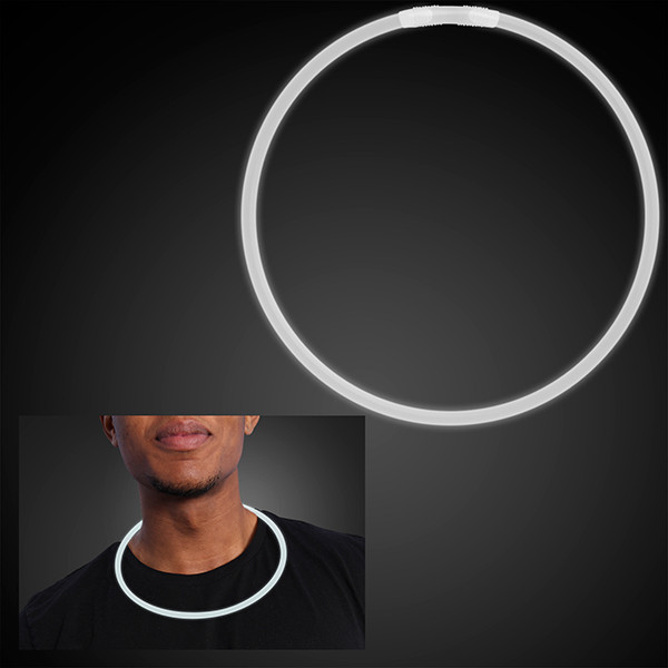 "22"" White Glow Necklaces. These White Glow Necklaces are perfect for glow in the dark parties."