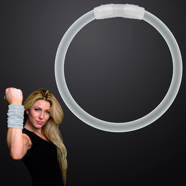 "8"" White Glow Bracelets. These White Glow Bracelets are perfect for glow in the dark parties."