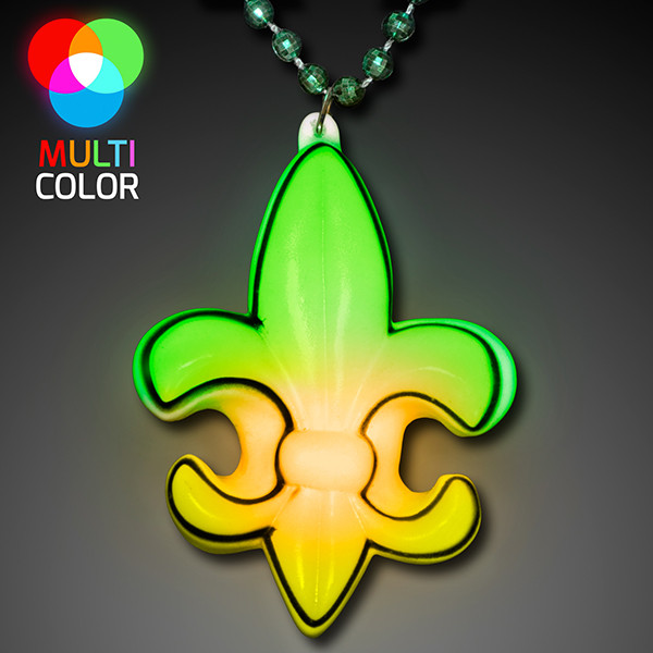 LED Fleur De Lis Mardi Gras Beads. These LED Mardi Gras beads are the perfect accessory for any Mardi Gras party outfit.