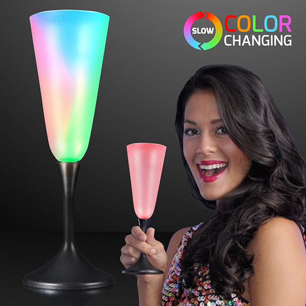 LED Champagne Glass with Black Base (Pack of 12) LED Champagne Glass with Black Base, light up, champagne glass, multi-color, new years eve, wholesale, inexpensive, bulk
