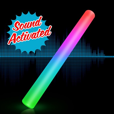 Sound Activated Light Up Multicolor LED Cheer Stick (Pack of 12)