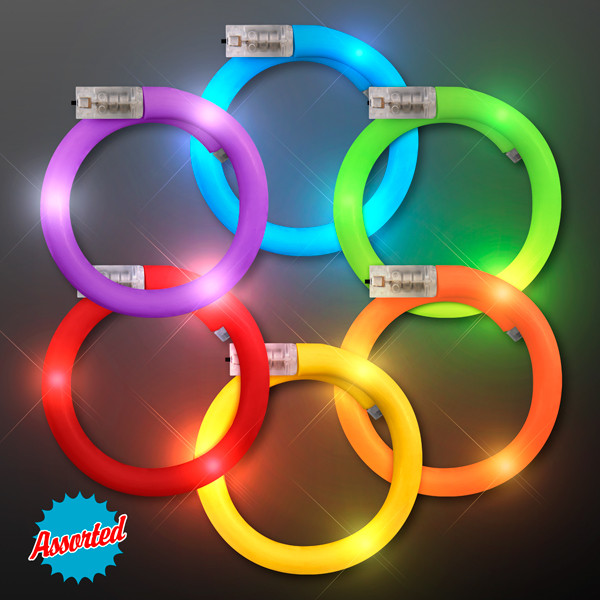 Assorted Color Flash LED Tube Bracelets. These Flash LED Tube Bracelets are perfect for glow in the dark parties.
