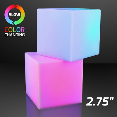 "2.75"" Light Deco Cube with Color Change LEDs. These Light Deco Cubes will provide much extra spunk to any room."