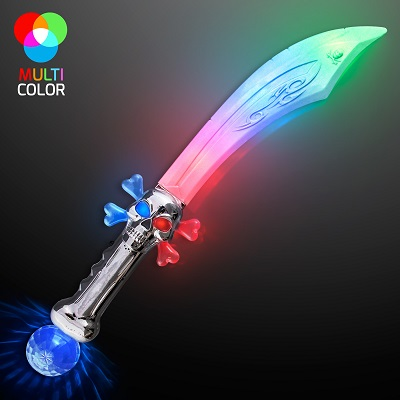 LED Flashing Curved Pirate Sword.  This Flashing Curved Pirate Sword will provide endless night time fun for the kiddos.