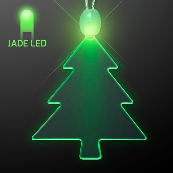 Acrylic Green Tree Christmas Necklace w/ Jade LED. This Acrylic green Christmas Tree Necklace is the perfect accessory for any holiday outfit.