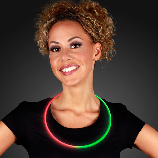 Green and red glow necklace.